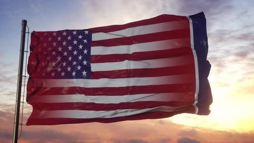 Tennessee and USA Flag on Flagpole