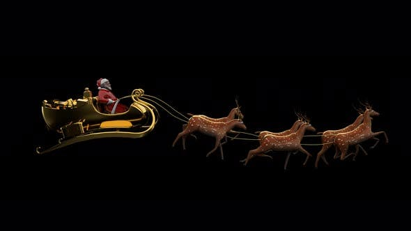 Thumbnail for Santa Sleigh With Deers Seamless Loop