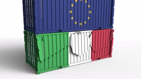 Thumbnail for Container with Flag of the EU Breaks Container with Flag of Italy