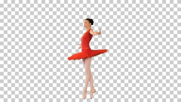Ballerina in a red tutu walking on pointes, Alpha Channel