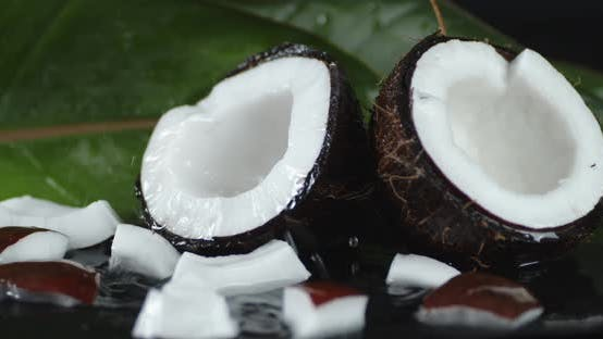 Thumbnail for Drops of Water Falling on Pieces of Coconut.
