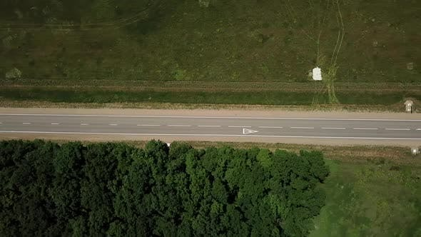 Top Down View of Fly Over Rural Road