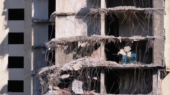 Thumbnail for View of the Destroyed Concrete Building at the Construction Site.