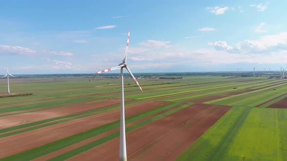 Aerial View of Wind Turbines Farm and Agricultural Fields  Austria