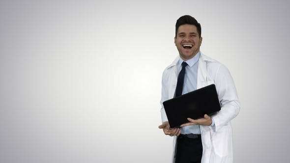 Thumbnail for Entrepreneur engineer or doctor with a laptop laughing