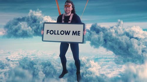 Cheerful Parachutist with Follow Me Poster