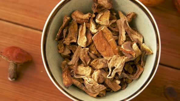 Thumbnail for Dried Mushrooms in Bowl on Wooden Background 2