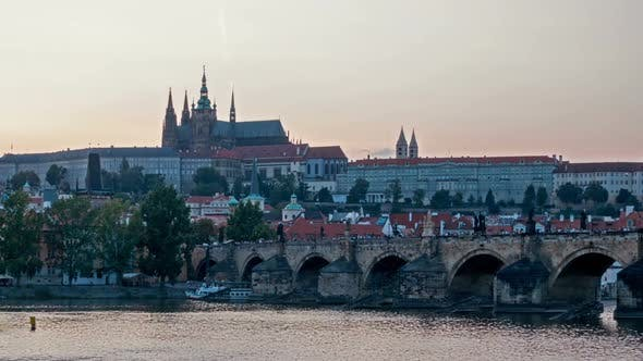 Thumbnail for Charles Bridge Over the River Vitava, Czech Republic at Sunset , Timelapse