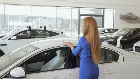 Thumbnail for Gorgeous Long Haired Woman Stroking New Expensive Automobile at Dealership