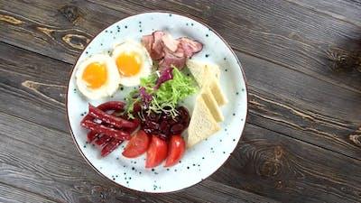 Breakfast on Wooden Background