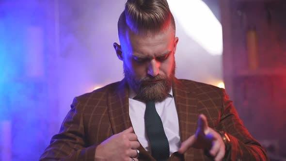Elegant Bearded Businessman in Barbershop Brutal Hair Style Concept