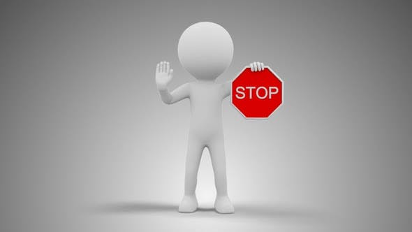 3D Man Holding Stop Sign Loop