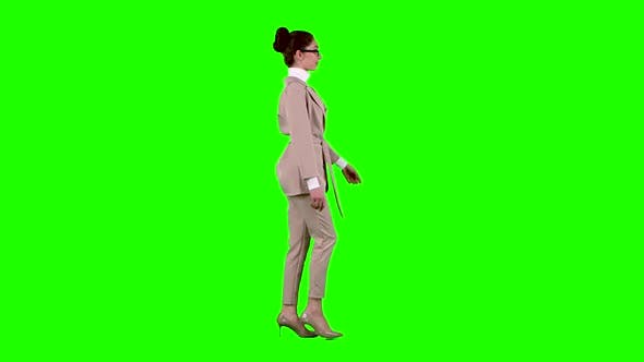 Thumbnail for Manager Goes To the Meeting and Corrects His Glasses. Green Screen. Side View