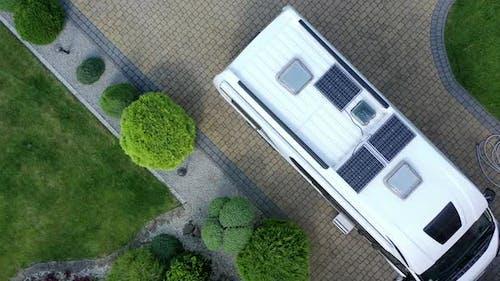 Roof Of Parked Camper Van.