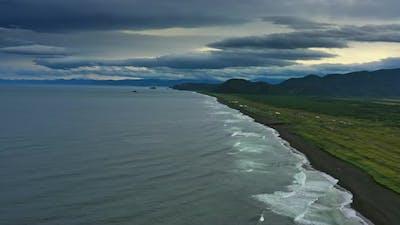 Beach with Black Sand on Kamchatka