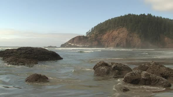 Thumbnail for Ocean in Autumn Rocks Island in Oregon United States
