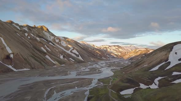 Thumbnail for Fiver Delta in Iceland Mountains at Sunset