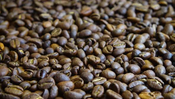 Rotating background from coffee beans.