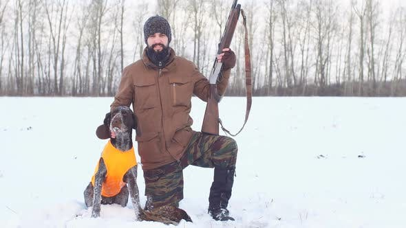 Thumbnail for Happy Hunter with Dog and Their Game. Good Day for Hunting.