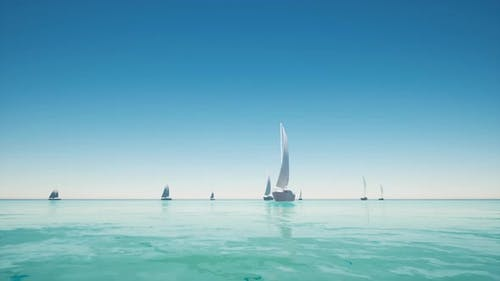 Aerial View of Yacht Boat Regattas on Tropical Ocean Nature Landscape