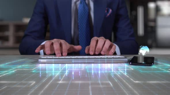 Businessman Writing On Hologram Desk Tech Word  Marketing