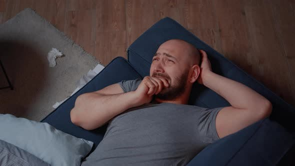 Stressed Man with Mental Health Issues Feeling Anxiety