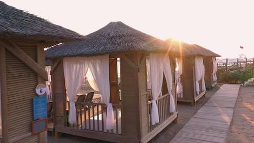 VIP Beach Cabins at Antalya, Turkey.