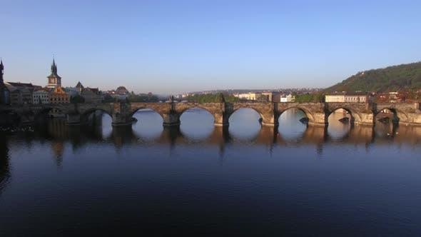Thumbnail for Aerial Shot of Charles Bridge Over Vltava River in Prague
