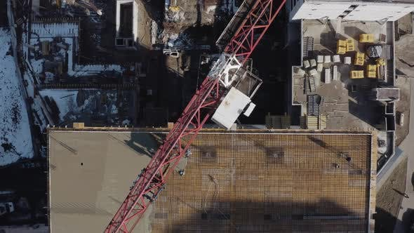 Thumbnail for Lifting Construction Crane, Top View. The Construction of a New High-rise Building for Living in the