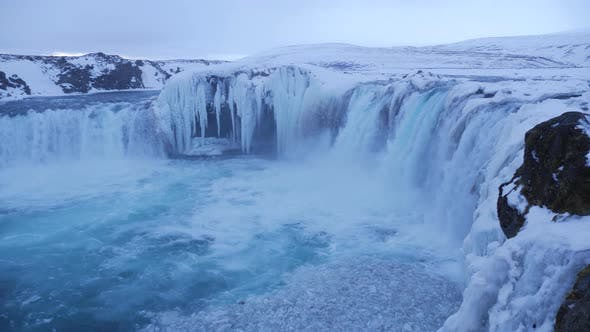 Thumbnail for View of Beautiful Godafoss Waterfall in Winter Iceland 6