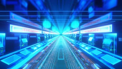 High Tech Neon Tunnel Background VJ Loop