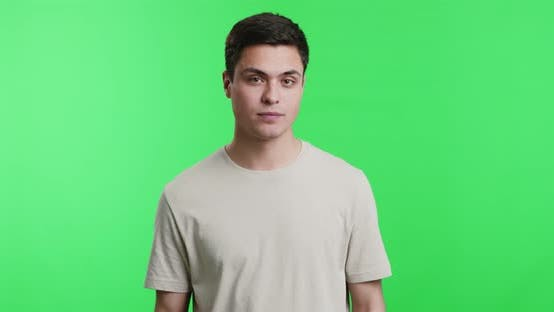 Young Guy Snapping His Fingers, Chroma Key Background