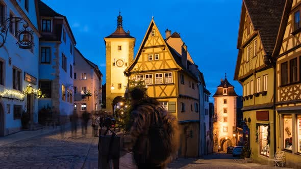Thumbnail for Evening Timelapse of Rothenburg Ob Der Tauber at Christmas