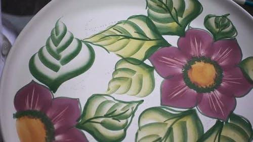 Artist Paint Porcelain Plate Flower And Leaf Design Imitation