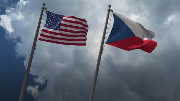 Waving Flags Of The United States And The  Czech Republic 2K