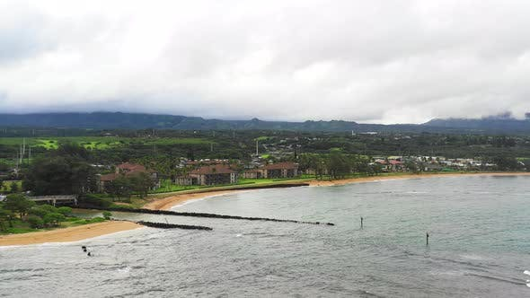 Thumbnail for Fuji Beach Kapaa Kauai Hawaii Estuary River Meets Ocean Aerial View