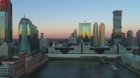 Thumbnail for Jersey City Skyscrapers in the Morning. New Jersey. Aerial View