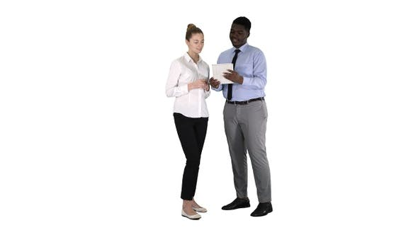 Thumbnail for Modern business people working on a tablet on white background.