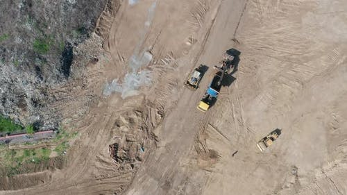Top View of Machines Working on Waste Disposal