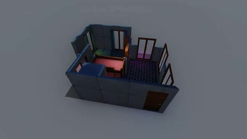 Isometric bedroom layout