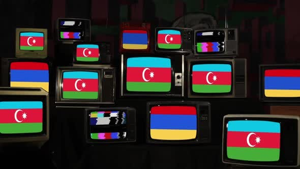 Flags of Armenia and Azerbaijan on Retro TVs.