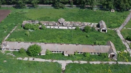 Drone Shot of Abandoned Farm