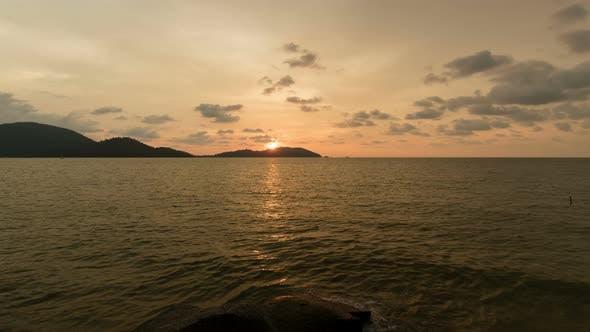 Sunset Behind Island