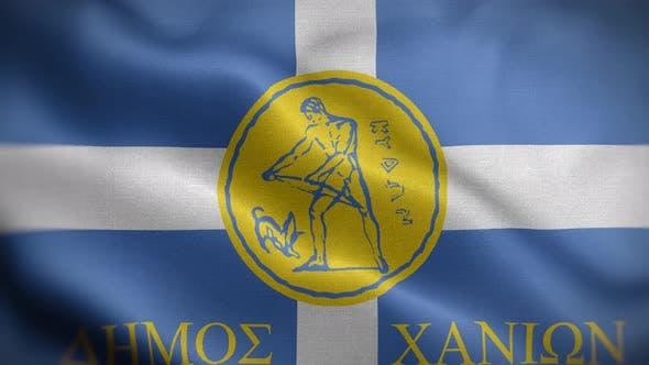 La Canée Crète Grèce Drapeau Boucle Arrière-plan 4K