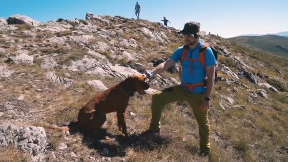 Thumbnail for Young Backpacker Taking a Rest at the Top of the Mountain, Petting His Hungarian Vizsla Dog