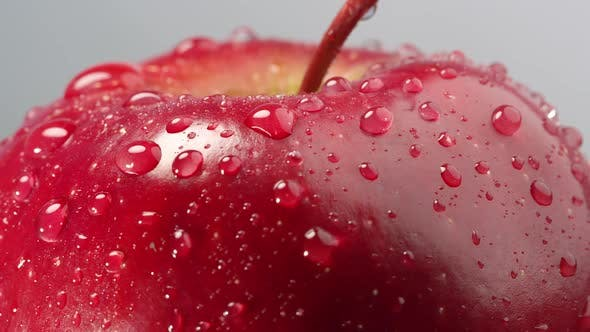 Thumbnail for Close up of red apple top and stem covered in water