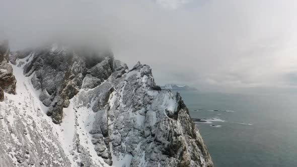 Thumbnail for Aerial View of Vestrahorn at Stokksnes Beach Before Sunset, Iceland, Winter 2019
