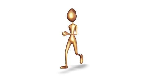 Gold Man Running  Loop On White Background