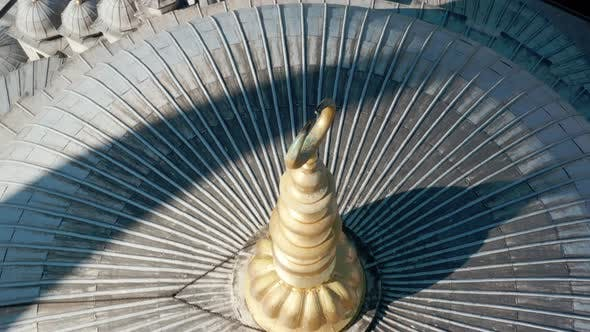 Fatih Mosque Dome And Golden Alem Aerial View