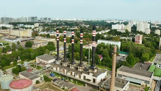 Aerial of a coal fire power station.